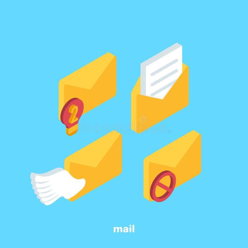 Satz Ikonen bezüglich der Post lizenzfreie abbildung