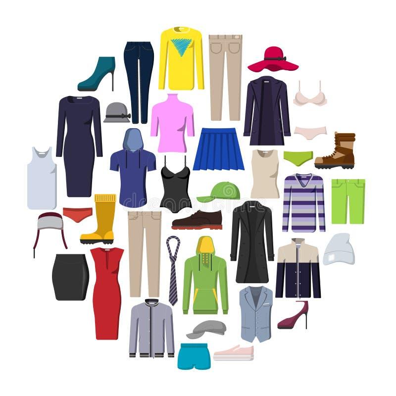Satz Ikonen der zufälligen Kleidung stock abbildung