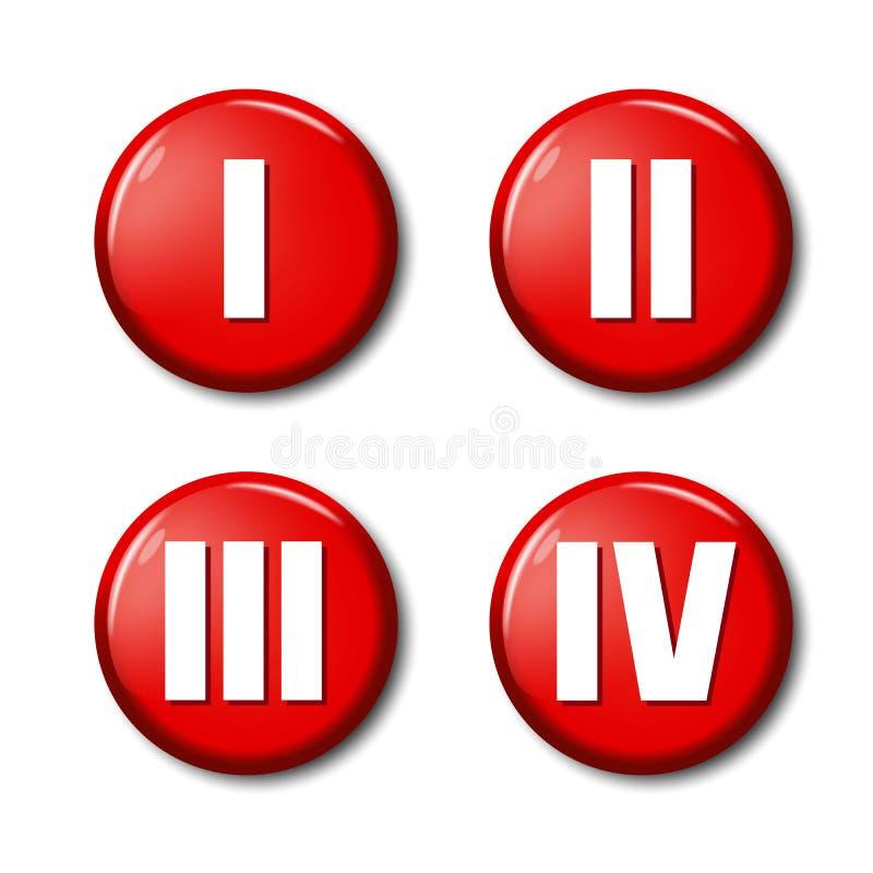 Satz Ikonen des roten Knopfes mit römischen Ziffern stock abbildung