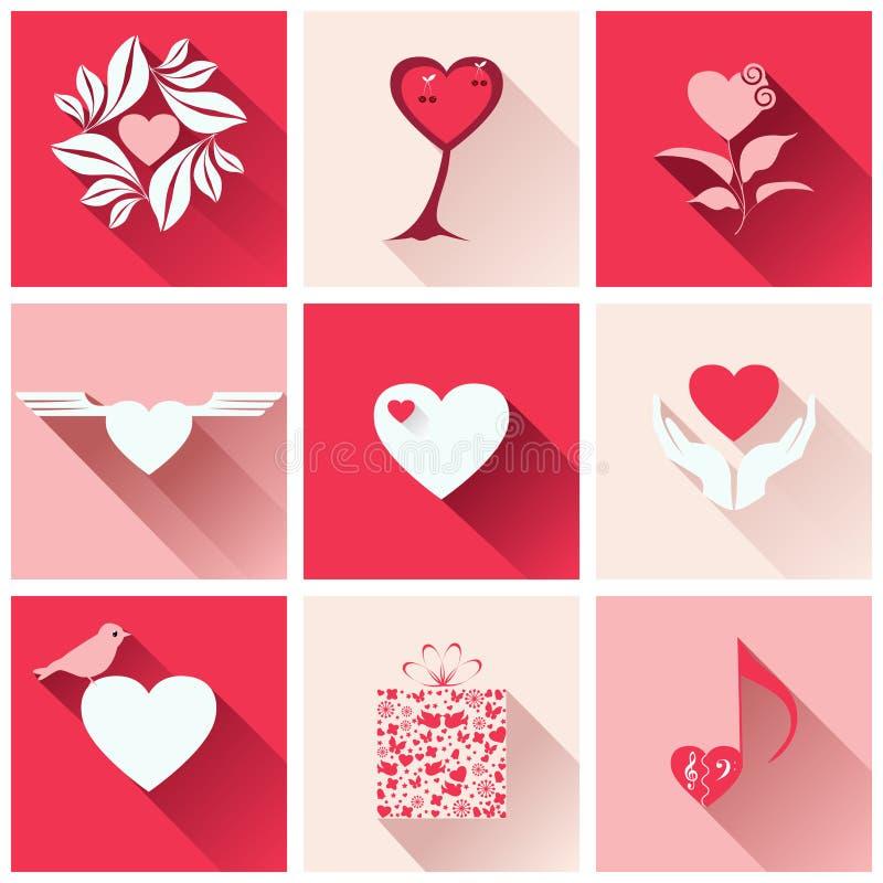 Satz Ikonen für romantische Ereignisse lizenzfreie abbildung