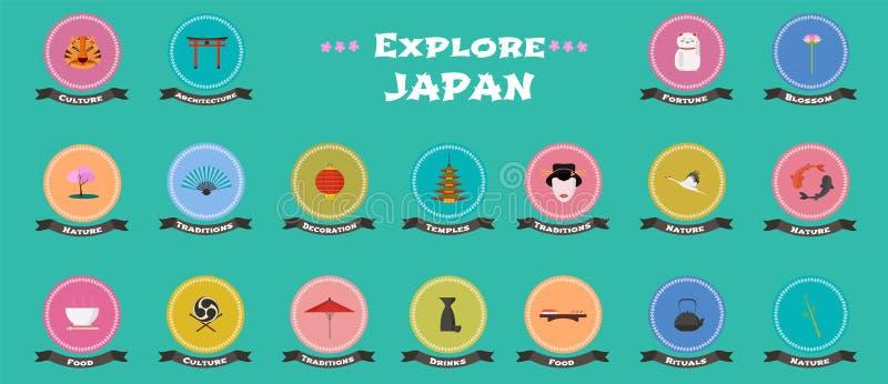 Satz Ikonen mit japanischen Marksteinen, Gegenstände, Architektur im Vektor lizenzfreie abbildung