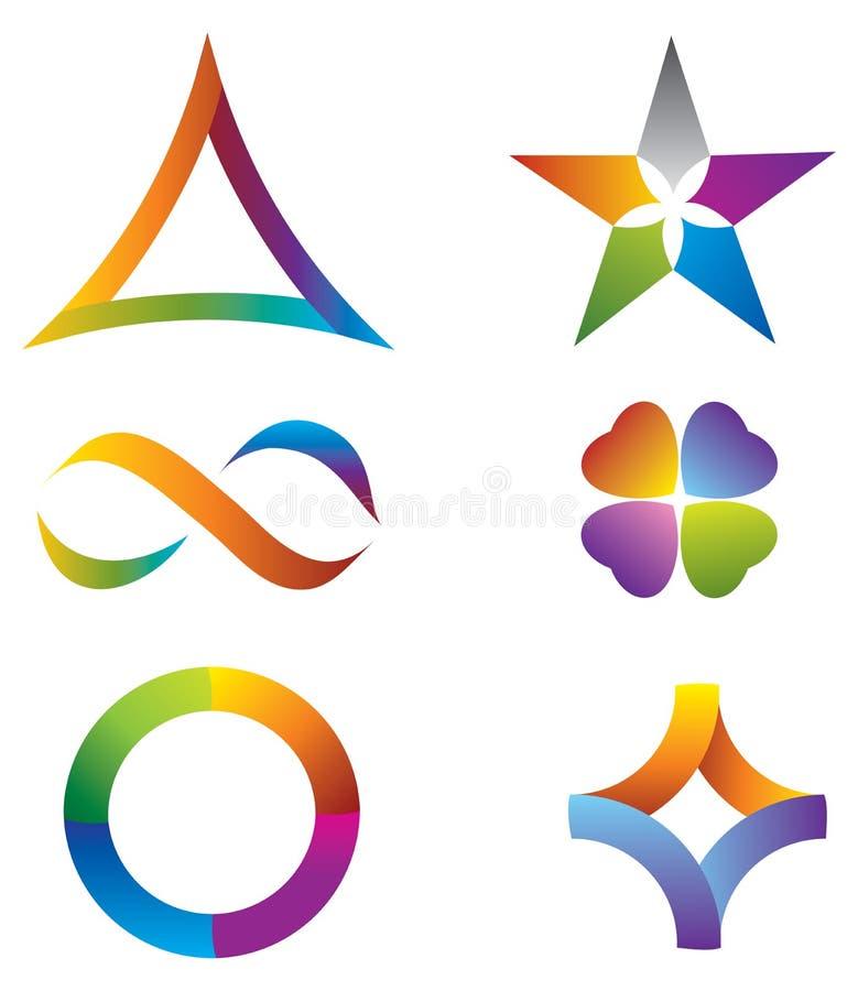Satz Ikonen-Regenbogen-Farben - Stern/Unendlichkeit/Ci stock abbildung