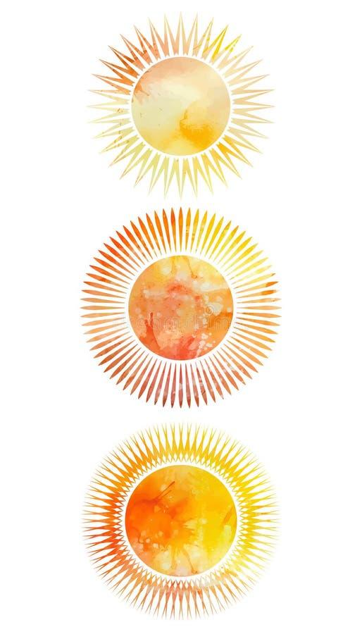 Satz Ikonen von Sonnen mit verschiedenen Strahlen stock abbildung