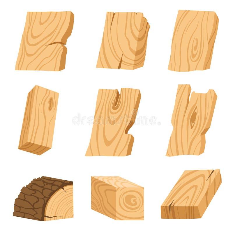 Satz Ikonen von strukturierten hölzernen Brettern, von Stangen und von Teilen eines Baums Auch im corel abgehobenen Betrag vektor abbildung