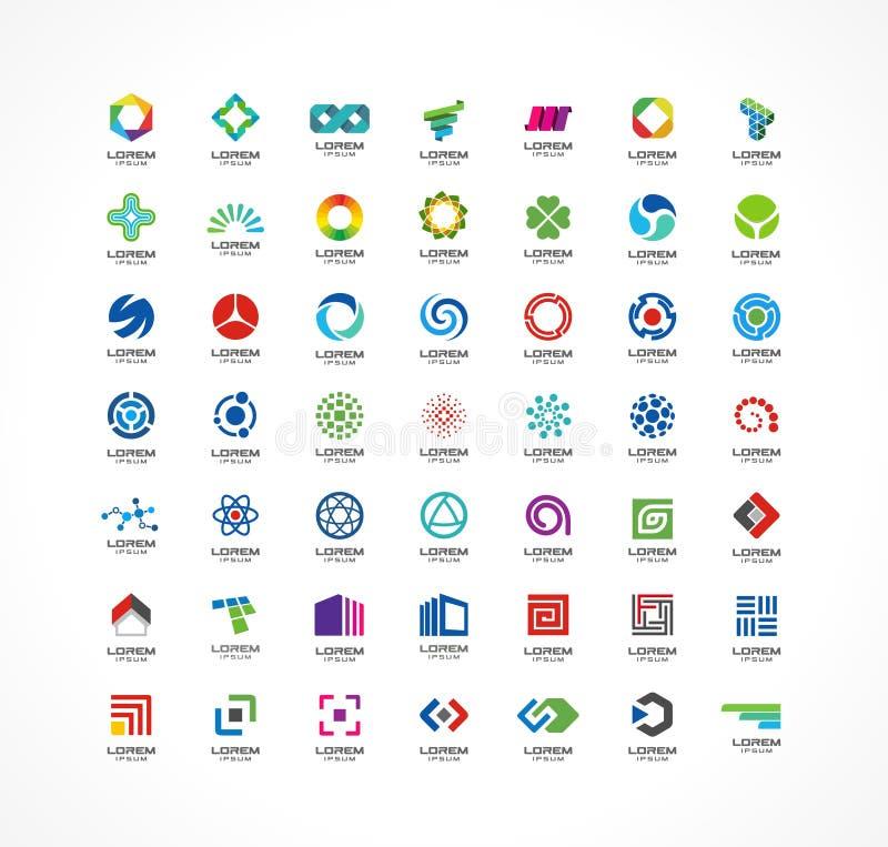 Satz Ikonengestaltungselemente Abstrakte Logoideen für Unternehmen Finanzierung, Kommunikation, eco, Technologie, Wissenschaft lizenzfreie abbildung