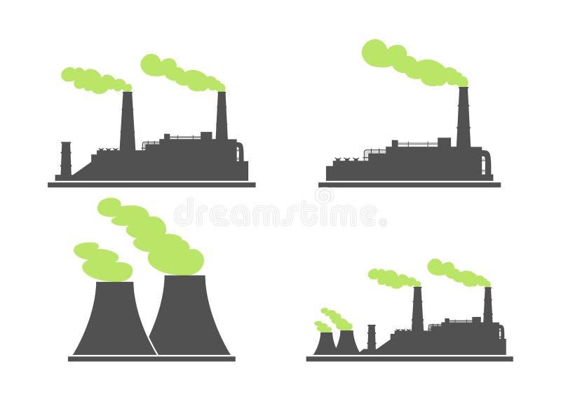Satz Industriefabrik-Gebäudeikonen Anlage und Fabrik, Energie vektor abbildung