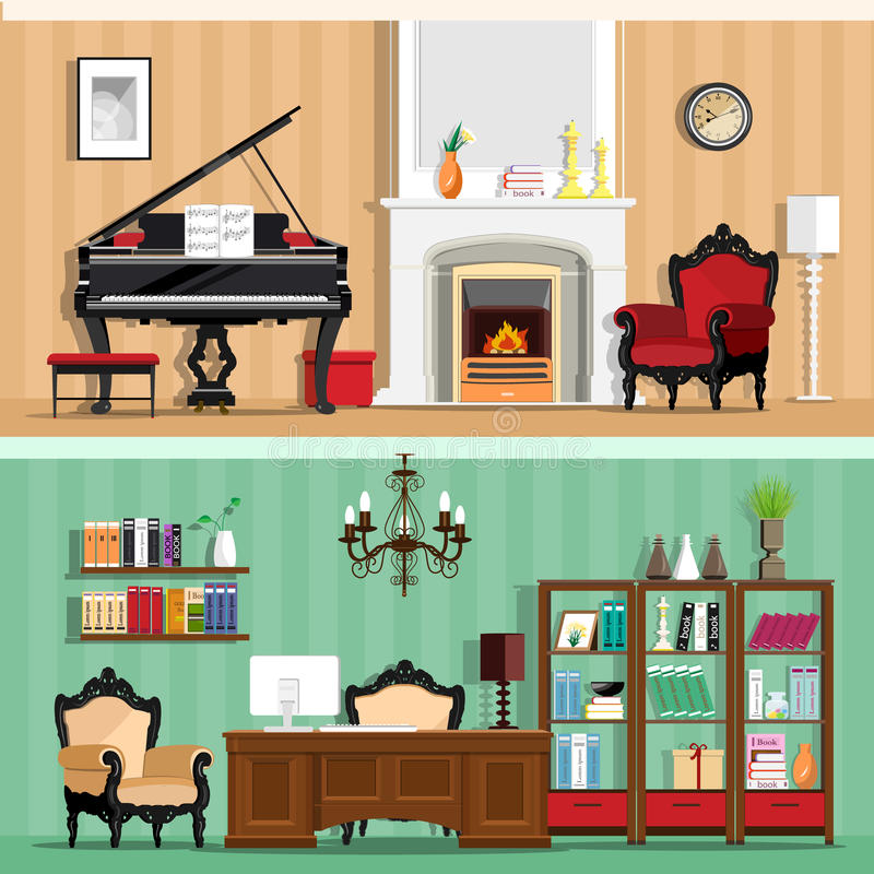Satz Innenmodehausräume des bunten Vektors mit Möbelikonen: Wohnzimmer- und Innenministerium Räume mit Weinleseinnenraum lizenzfreie abbildung