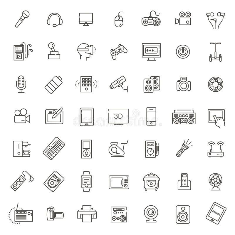 Satz intelligente Geräte und Geräte, Computerausrüstung und Elektronik lizenzfreie abbildung