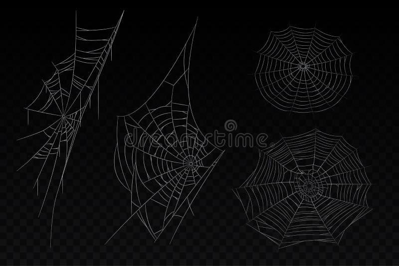 Satz isolierter Spinnennetze Halloween-Hintergrund stock abbildung