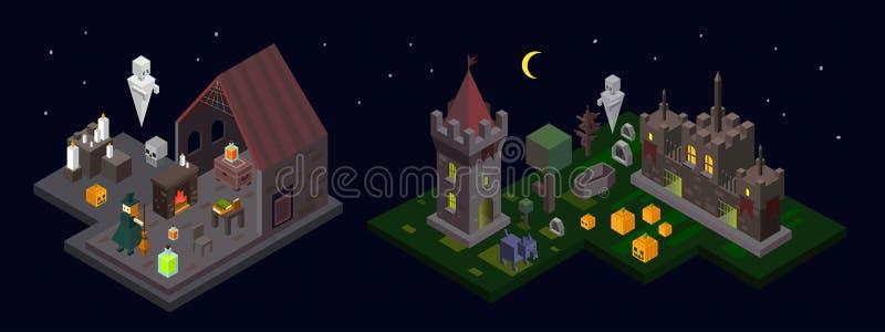 Satz isometrische Elemente Halloweens Schloss, Turm, Hexe, Geist stock abbildung