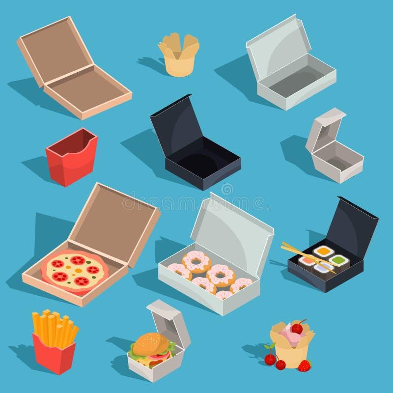Satz isometrische Illustrationen des Vektors des Schnellgerichtes in einer Pappverpackung und leeren offene Pappschachteln lizenzfreie abbildung