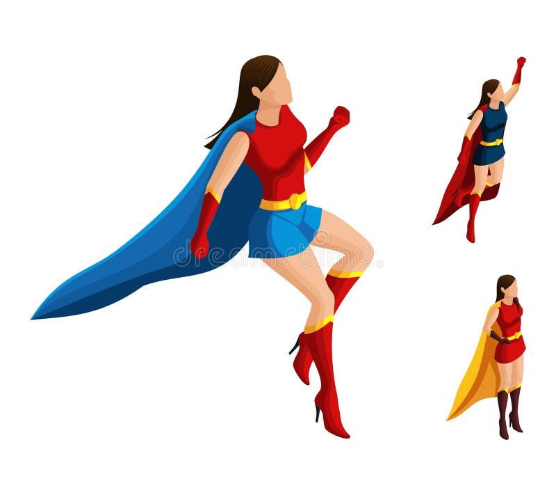 Satz Isometry A Superheldmädchen in den verschiedenen Klagen, zu fliegen, zu verbergen entwickeln sich, 3D Frau, Helden, Retter A vektor abbildung