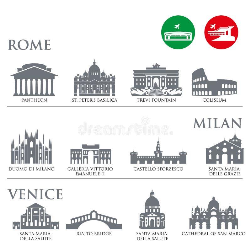 Satz Italien-Symbole, Marksteine in der grauen Farbe Auch im corel abgehobenen Betrag Venedig, Mailand, Italien, Rom lizenzfreie abbildung