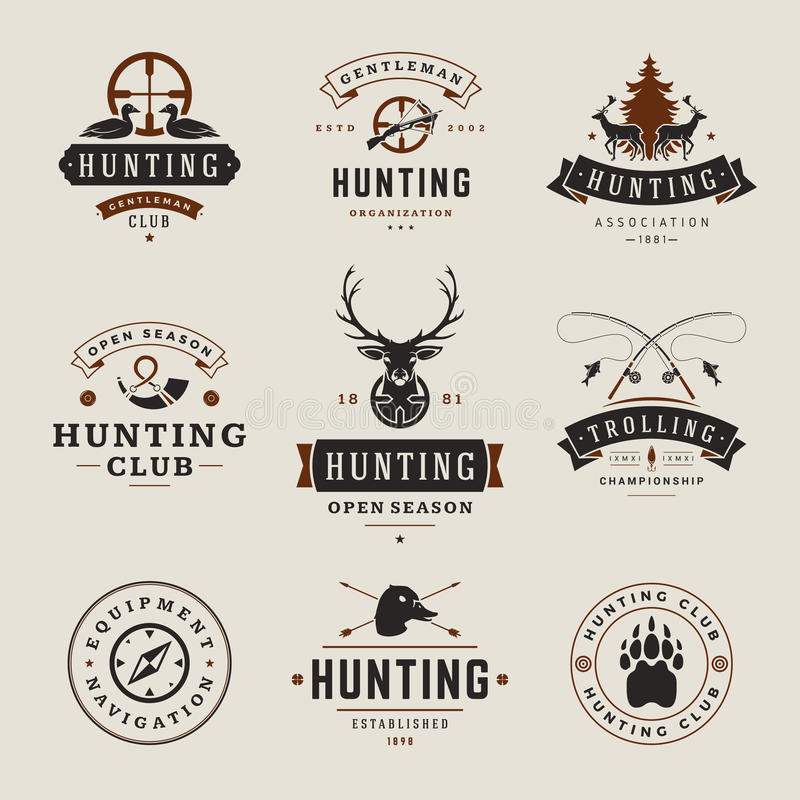 Satz Jagd-und Fischen-Aufkleber, Ausweise, Logos lizenzfreie abbildung