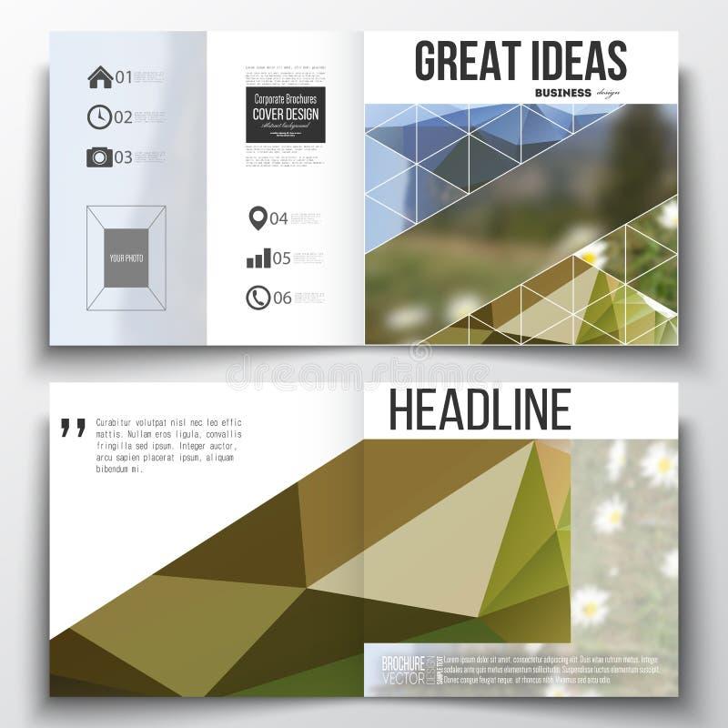 Satz Jahresberichtgeschäftsschablonen für Broschüre, Zeitschrift, Flieger oder Broschüre RAUM FÜR BEDECKUNGSschlagzeile UND TEXT  vektor abbildung