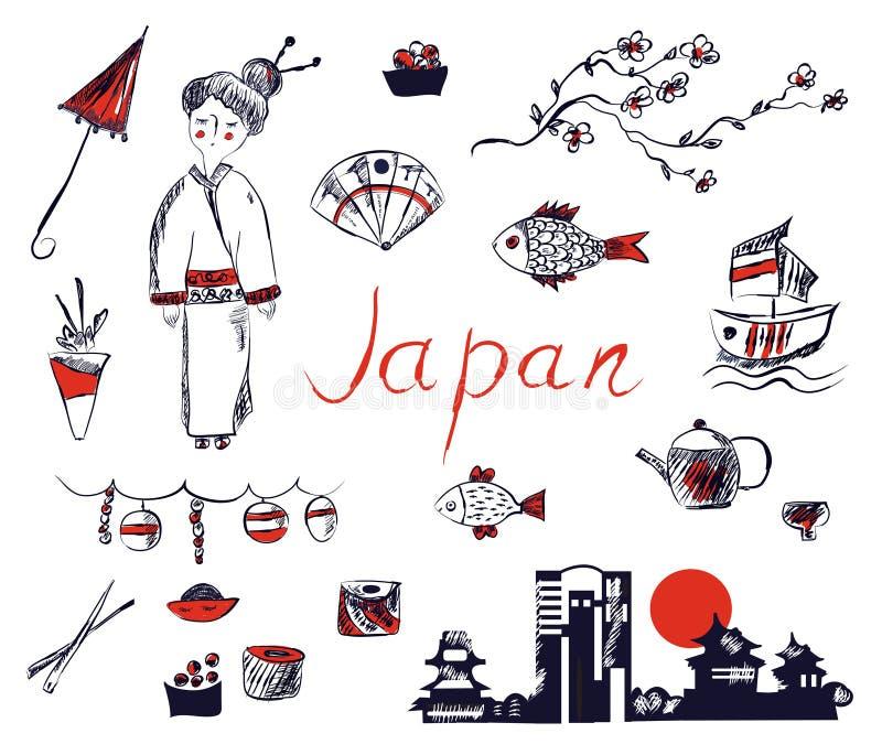 Satz Japan-Symbole - übergeben Sie gezogenes Design vektor abbildung
