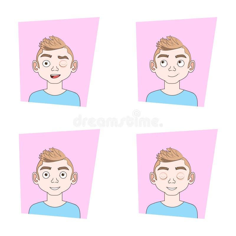 Satz junger Mann-Gesichter mit verschiedenen Ausdrücken Guy Emotions Icons Collection vektor abbildung