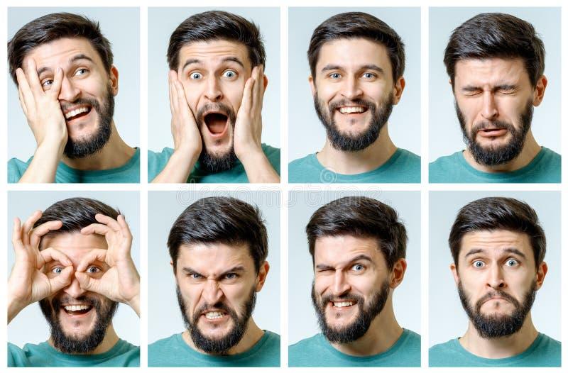 Satz junger Mann ` s Porträts mit verschiedenen Gefühlen stockfotografie