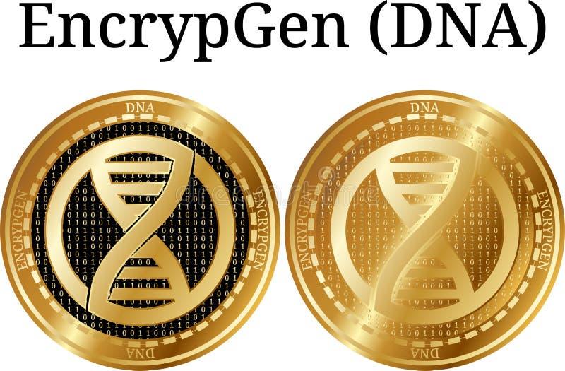 Satz körperliche goldene Münze EncrypGen DNA lizenzfreies stockbild