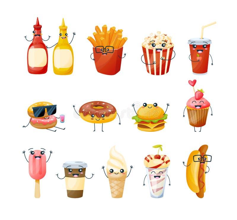 Satz köstliche Teller der lustigen Charaktere, Getränke vom Schnellimbiß vektor abbildung
