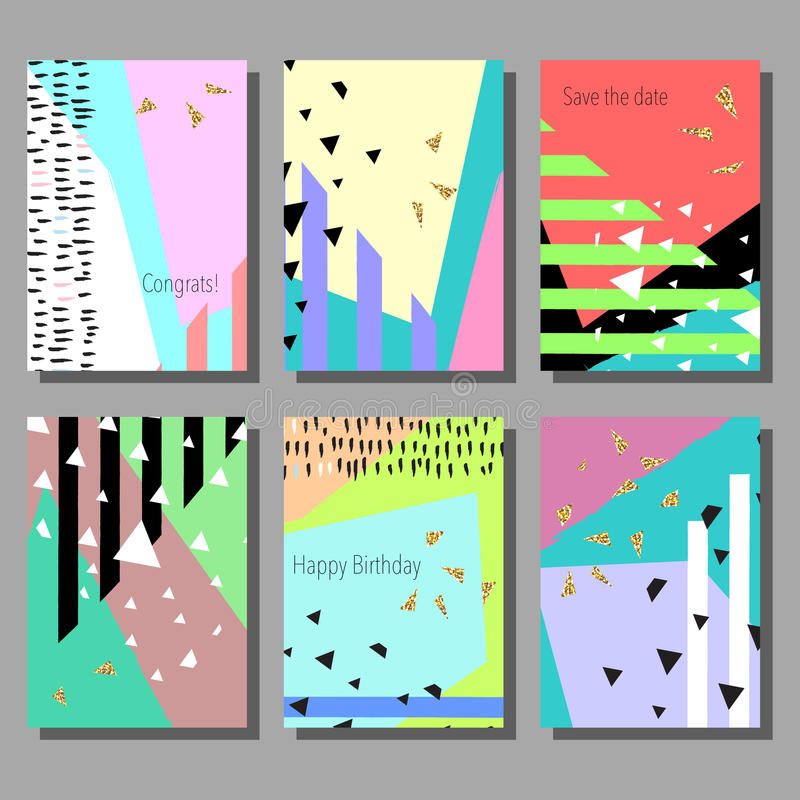 Download Satz Künstlerische Bunte Universalkarten Hochzeit, Jahrestag,  Geburtstag, Feiertag, Partei Design Für