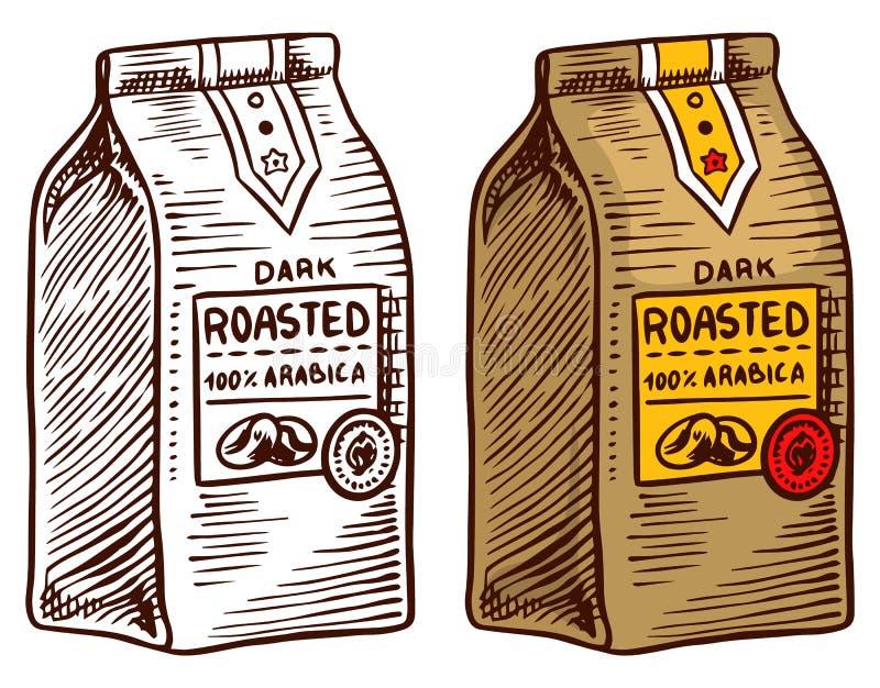 Satz Kaffee Tasche von Grundbohnen in der Weinleseart Handgezogene gravierte Retro- Skizze Organische natürliche Anlage, Schablon stock abbildung