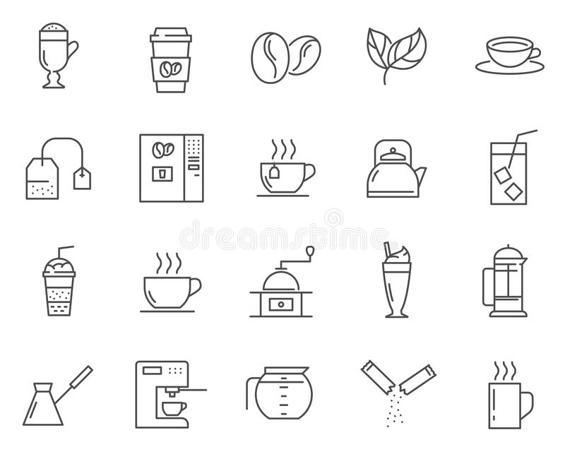 Satz Kaffee und Tee zeichnen Vektorikonen lizenzfreie stockfotos