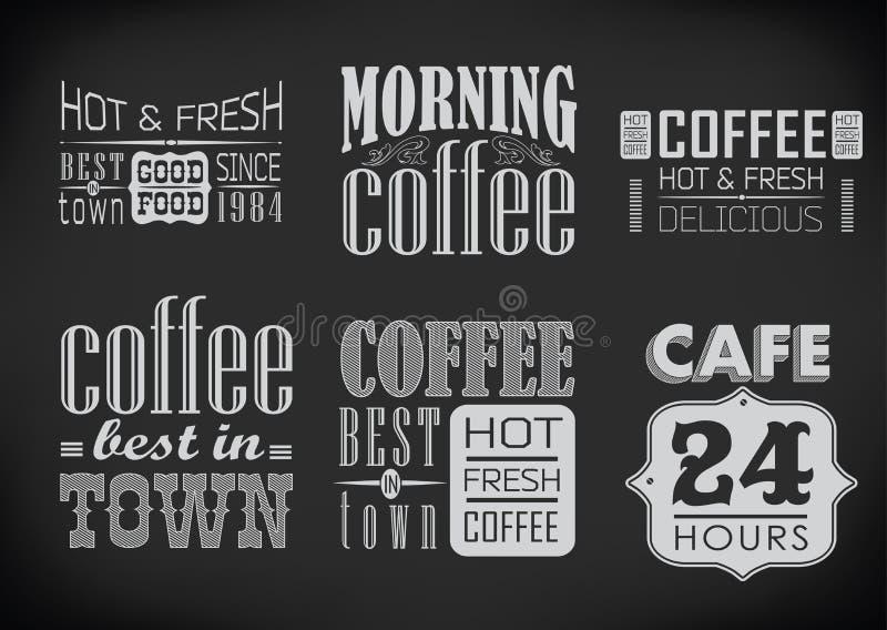 Satz Kaffeeaufkleber auf Tafel vektor abbildung