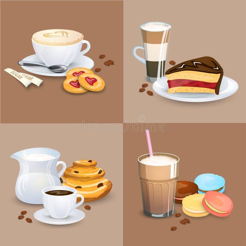 Satz Kaffeegetränke, Bonbons Und Bäckereiprodukte Stock Abbildung ...