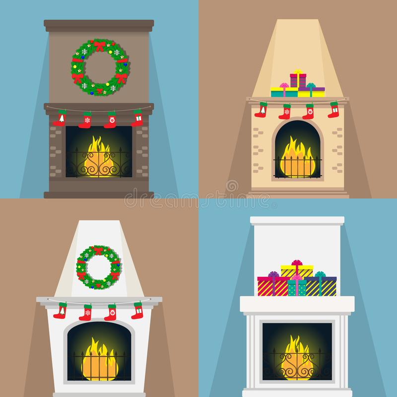 Satz Kamine, mit Weihnachten schreibt Socken, Geschenke, Kränze zu Kamine von verschiedenen Formen mit der Flamme Weihnachtsvekto lizenzfreie abbildung
