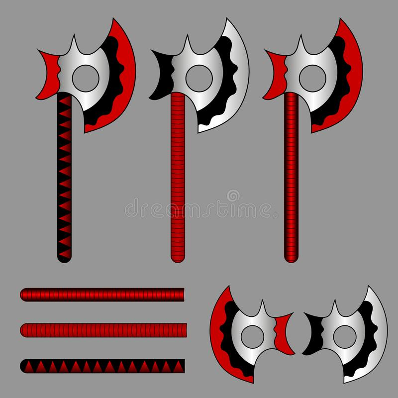 Satz Kampf-Äxte Barbarische Äxte Komponenten oder Elemente für Ihr Design, Spiel, Karte, Website Auch im corel abgehobenen Betrag vektor abbildung