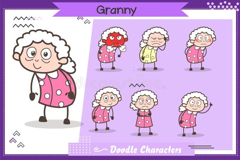 Satz Karikatur-alter Großmutter-Charakter-der verschiedenen Ausdruck-Vektor-Illustration vektor abbildung