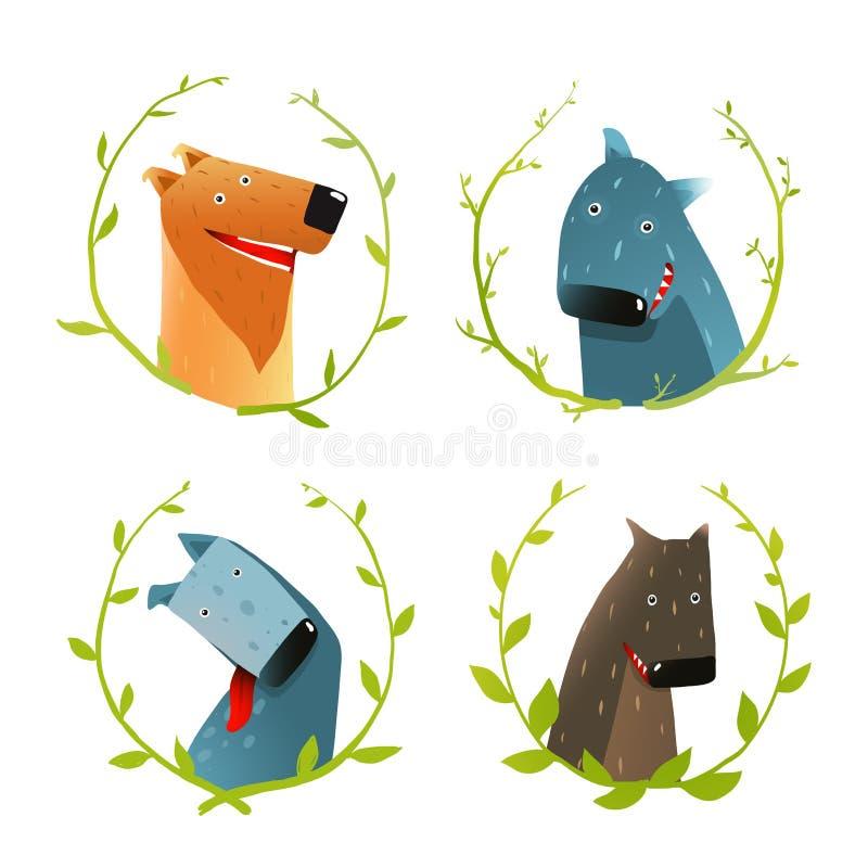 Satz Karikatur-des glücklichen inländische Hundelächelns stock abbildung