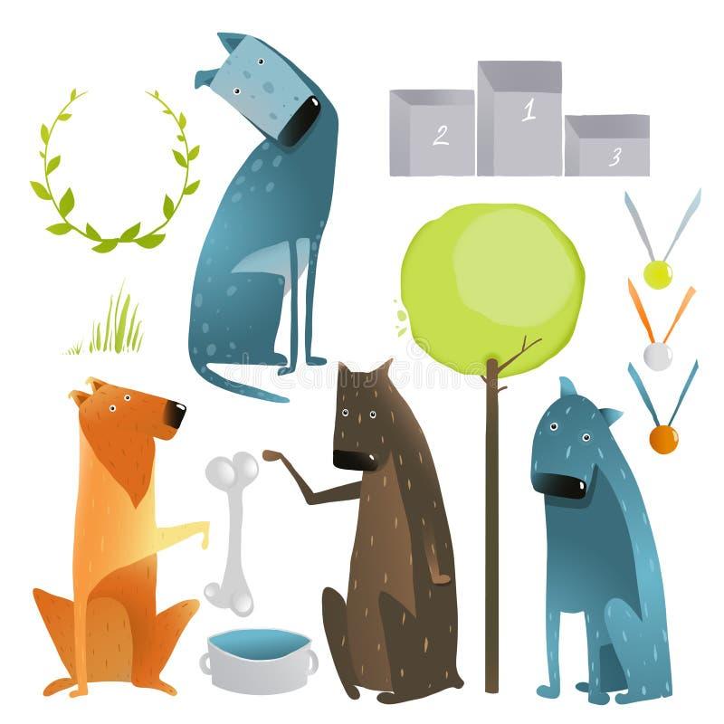Satz Karikatur-Hunde und Wettbewerbs-Einzelteile vektor abbildung