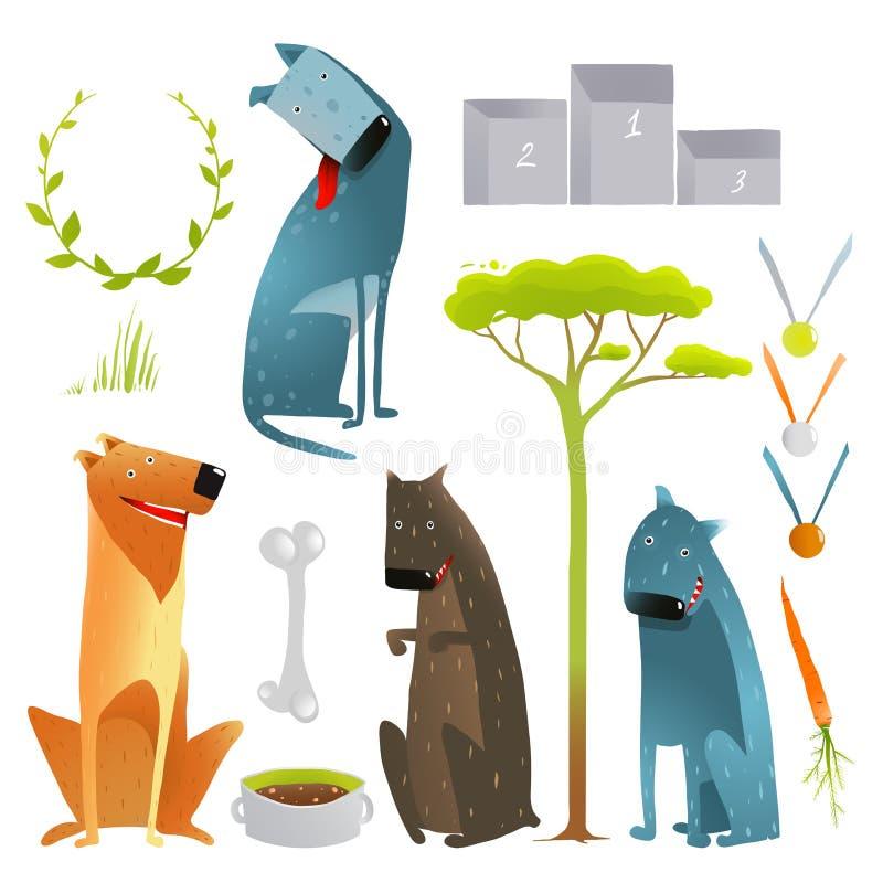 Satz Karikatur-lächelnde Hunde und Wettbewerbs-Einzelteile lizenzfreie abbildung
