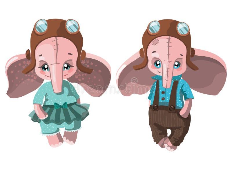 Satz Karikaturelefanten Sammlung nette Elefanten in der Kleidung Plüschspielwaren für Kinder Bunte Vektorillustration für vektor abbildung