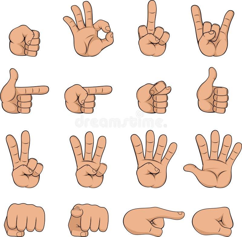 Satz Karikaturhände vektor abbildung