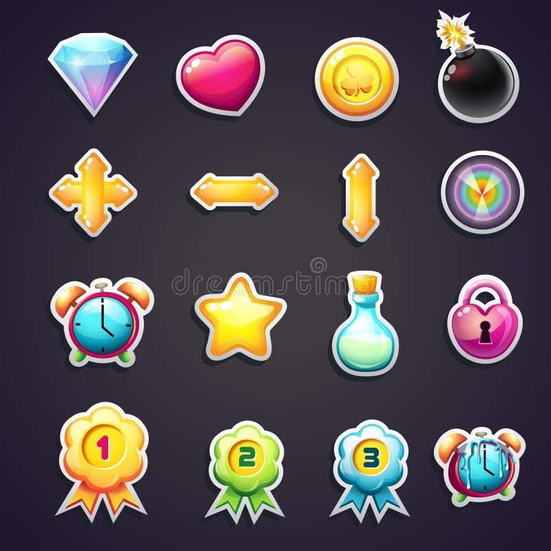 Satz Karikaturikonen für die Benutzerschnittstelle von Computerspielen stock abbildung