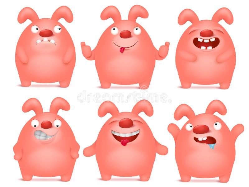 Satz Karikaturrosa-Häschen charaters in den verschiedenen Gefühlen vektor abbildung