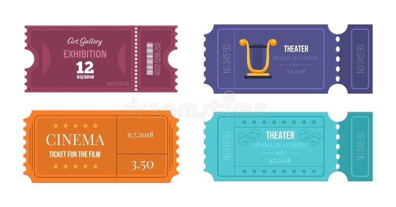Satz Karten auf verschiedenen Ereignissen: Theater, Kino, Kunstgalerie stock abbildung