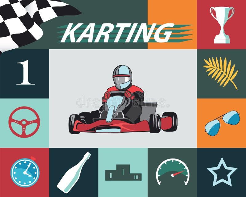 Satz Karting Infographic stock abbildung