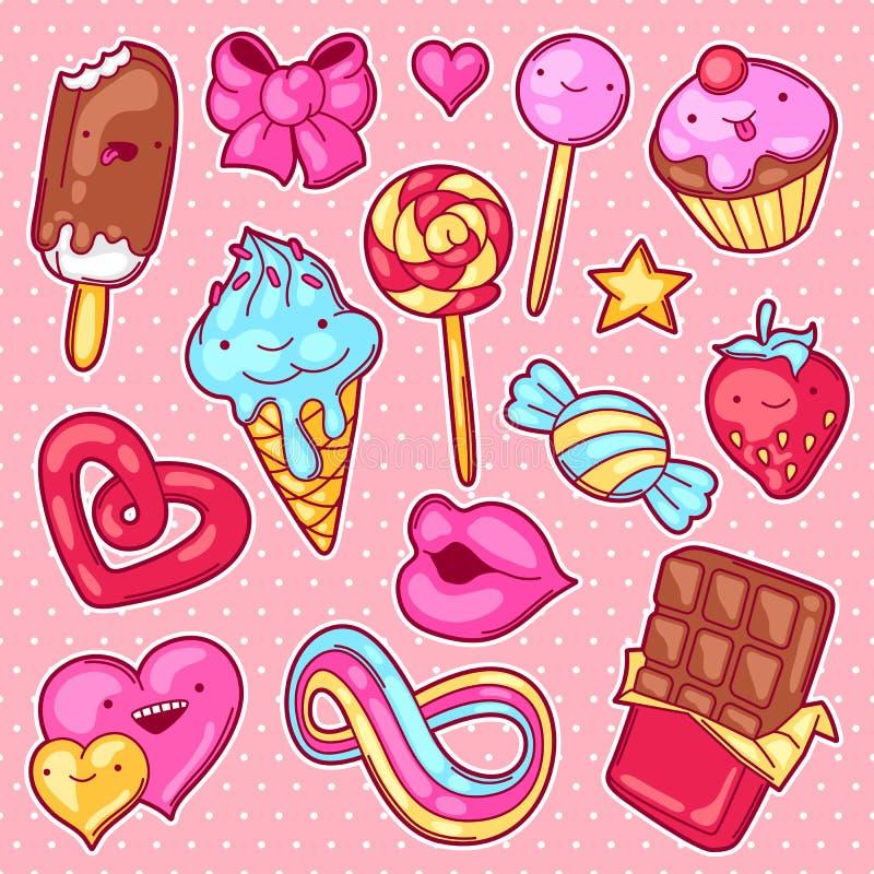 Satz kawaii Bonbons und Süßigkeiten Verrücktes Süßmaterial in der Karikaturart lizenzfreie abbildung
