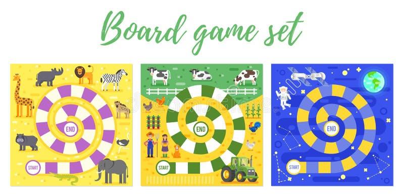 Satz Kind-boardgame stock abbildung