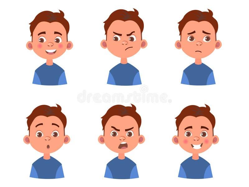 Satz Kind-` s Gefühle Lustiges Gesicht Karikaturjungenavatara Vektorillustration des Karikaturkindercharakters lizenzfreie stockbilder