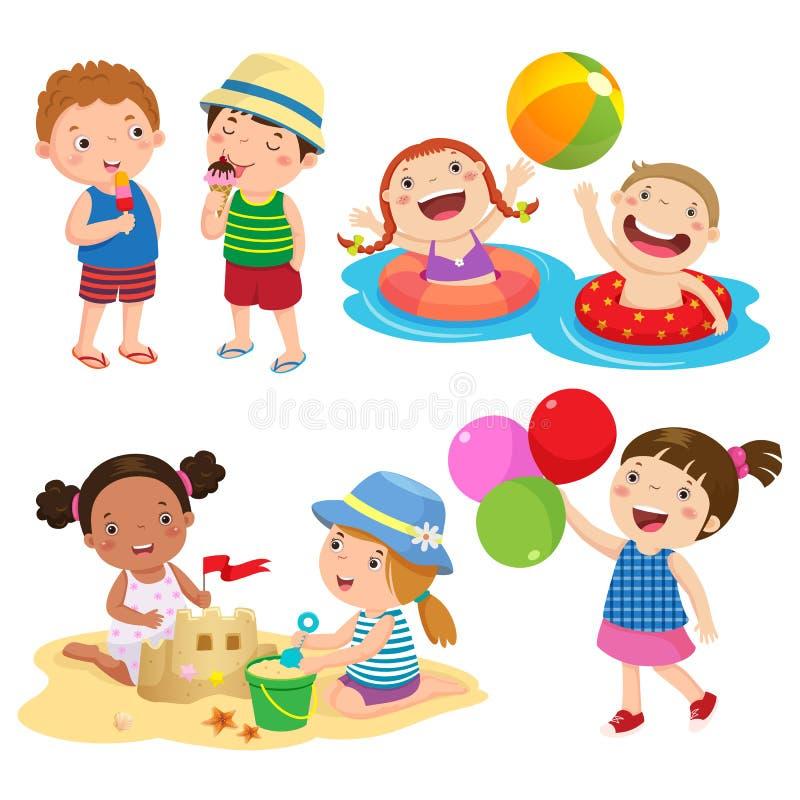 Satz Kinderspiel auf dem Strand stock abbildung
