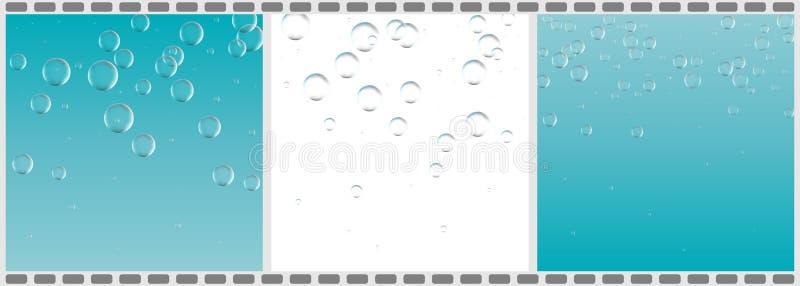 Satz klares Wasser mit Blasen, abstrakte flüssige Hintergründe VE stock abbildung