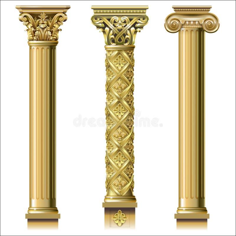 Satz klassische Goldspalten stockbilder