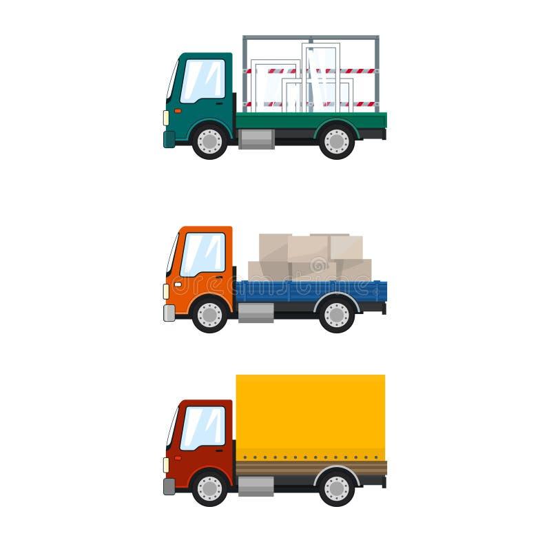 Satz kleine Fracht-LKWs stock abbildung