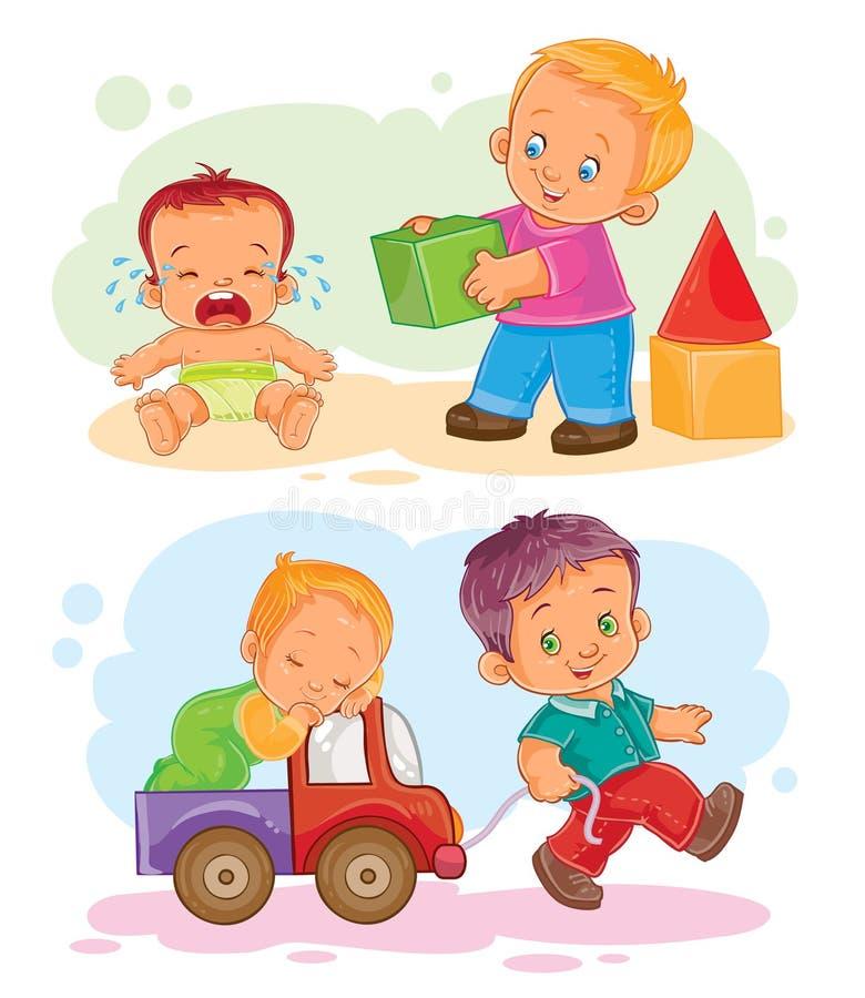 Satz kleine Kinder der Vektorikonen lizenzfreie abbildung