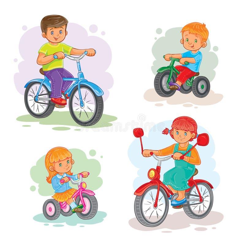 Satz kleine Kinder der Vektorikonen auf Fahrrädern stock abbildung